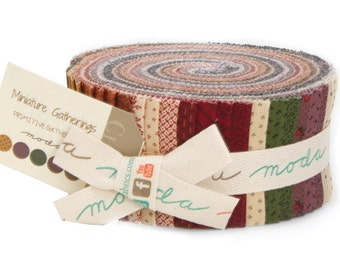 "Miniature Gatherings Jelly Roll by Primitive Gatherings for Moda Fabrics 1151JR 40 2.5"" x 42"" Fabric Strips"