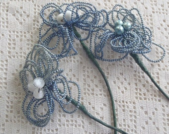 Vintage Flowers Blue Glass Beaded Stems 3 Pc.
