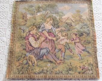Vintage Tapestry Square Belgium Children Frolicking