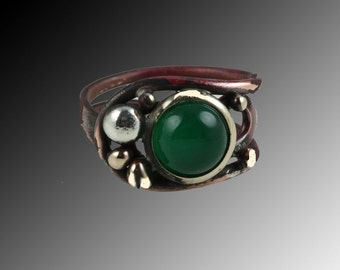 Copper ring - Ajustable ring- Coppering with silver- Copper ring with green agat- Green agat ring