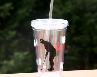 Personalized Golfer 16 oz Insulated cup with golf balls, tee and name
