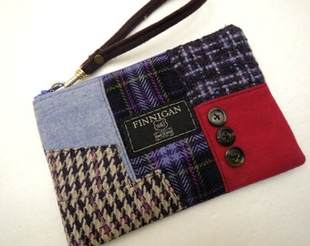 Womens Clutch, Womens Purse, Womens Wristlet, Cell Phone Purse, Small Purse, Upcycled Purse, Recycled Suit Coat, Eco Friendly