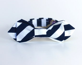 Boy's Bow Tie - Navy Stripe- Navy Blue and White Striped Ring Bearer Kids Bowtie - diamond point - size 6-10 years - In Stock boys bowties
