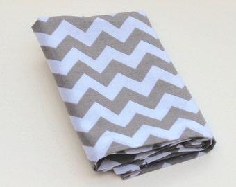 Pocket Square for Men - Chevron Print - Grey Gray and White Kerchief Hankie - In Stock