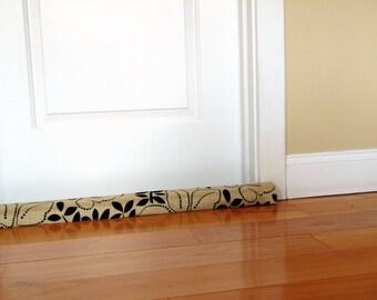 Door draft dodger,  botanical print, custom length up to 49 inches, cream brown, modern home decor, unfilled door snake, breeze blocker
