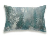 Teal Green Bottle Green Teal Blue Charcoal Beige Decorative Lumbar Pillow Cover 12x18 inch Natural Linen One Of A Kind