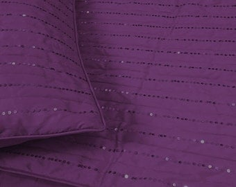 plum purple silver sequins modern silk coverlet king quilted bedding coverlet shimmer pattern lines with 2 pillowshams