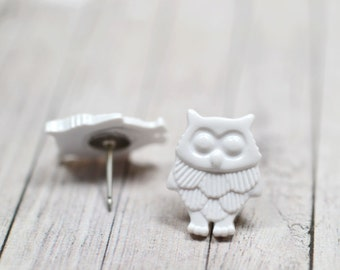 White Owl Earrings, Fun and Funky Snowy Owl Lovers Jewelry, Bright White Bird Earrings