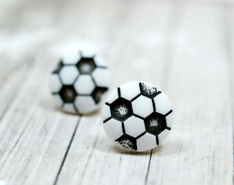 Soccer Ball Earrings, Black and White Soccer Balls, Sports Themed Jewelry, Soccer Moms Coach Gift Ideas