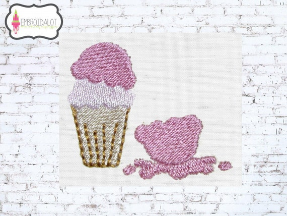 Ice Cream embroidery design. Ice cream machine embroidery goes splat! Fun for kids summer embroidery for beach items.