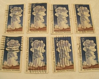 8 National Park Stamps, Yellowstone, Old Faithful, Travel Journal, Vintage stamps, Postage Stamps