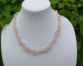 Rose Quartz and Rainbow Moonstone Necklace