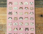Cute sheet of Sticker- Neighborhood Cats for scrapbooking, gift message, Bookmark, Packaging, Party favor