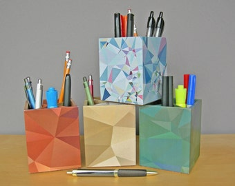 Pencil Cup With Low-poly Design, Modern Desk Accessories, Low- Polygon Geometric, Dorm Organization, Back To School