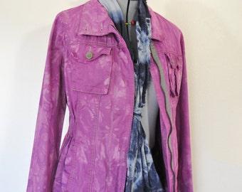 Fuchsia Pink Large Cotton JACKET - Magenta Violet Dyed Upcycled Old Navy Cotton Safari Blazer Jacket - Adult Womens Size Medium (40 chest)