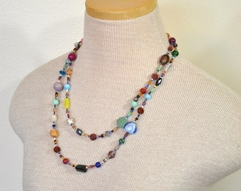 """Beaded NECKLACE - Long 22"""" (44"""") Multiple Primary Colors Blue Green Red Aqua Orange Seed Bead Glass Bead - Goes with Everything Necklace 48"""
