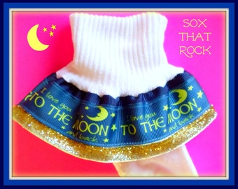 I Love You To The Moon And Back girls Double Ruffle Glitter Socks..you pick Size and Solid Ribbon Color...matching hair bow also available