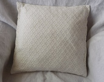 Handmade Decorative Linen Pillow Cover with Lace