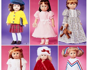 Doll Cheerleader Pattern, 18 inch Doll Coat Pattern, 18 inch Doll Nightgown Pattern, Dolls Teddy Bear Pattern, McCall's Sewing Pattern 3900
