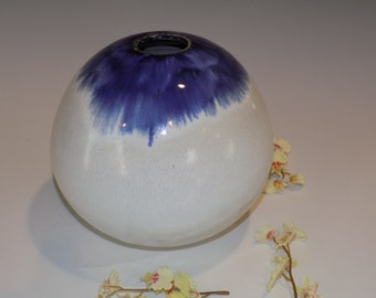 Ceramic Vase, Flower Vase, Pottery Handmade, Blue and White, Large Round Vase, Ceramics and Pottery Vase