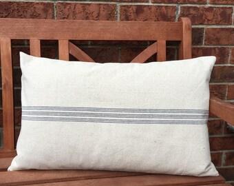 Grain Sack Lumbar Pillow Cover Center Stripe