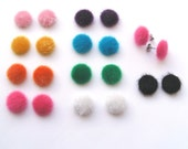 Little Pom Pom Earrings, Surgical Steel Posts, Fur Pom Pom Stud Earrings, Faux Fur Stud Earrings, Choose Your Colour