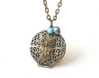 Owl Locket Necklace, Blue Necklace, Filigree Round Locket, Owl Necklace