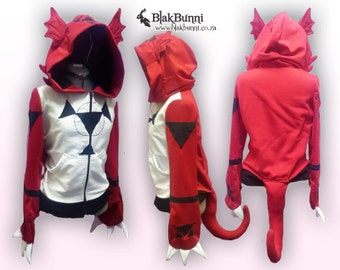 MADE TO ORDER Guilmon cosplay inspired hoodie digimon