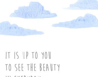 Beauty-Printable Art, Inspirational Print, Typography Quote, Motivational Poster, Wall Decor, digital download