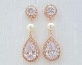 Bridal Earrings Rose Gold Clear Cubic Zirconia Teardrop Rose Gold Pearl Earrings Wedding Jewelry Rose Gold Bridal Jewelry, Perley