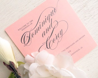 Printed Folded Blush Wedding Programs - Style P17 - GRACEFUL COLLECTION | wedding programs  |  ceremony program  |  programs