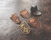 Familliar Sheilds - Brass or Copper Art pin