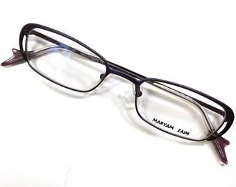 vintage 90s deadstock avant garde rectangular metal eyeglasses frames purple violet sleek stylish thin retro eye glasses eyewear optical A47
