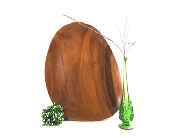 vintage 60s carved teak wood platter tray serving dish danish modern mid century oblong amoeba egg dining decorative home natural woodgrain