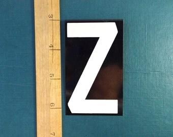 """vintage 40's letter Z industrial metal sign 3.25"""" long 2"""" wide black & white hanging large big huge baked on enamel church board old antique"""