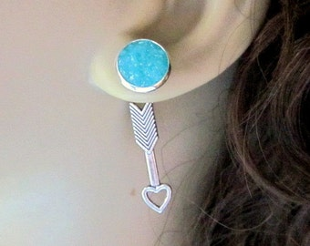 Caribbean Blue Arrow Ear Jacket Earrings