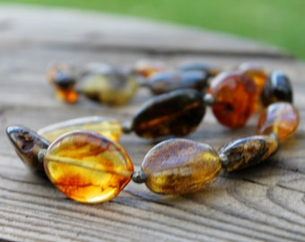 Natural Raw Baltic Amber Necklace, Genuine Baltic Amber, Huge, Statement Necklace,Large, Earthy Colors Ochre Brown Dark