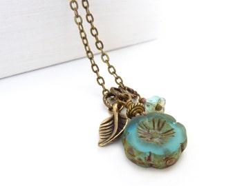 Aqua Blue Charm Necklace - Picasso Hawaiian Glass Czech Flower - Antique Bronze Leaf - Boho Necklace - Mother's Day Gift