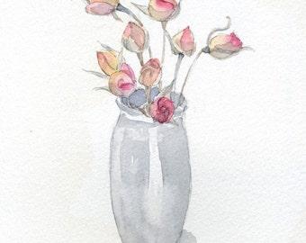 Dried Roses - Original Watercolor Painting