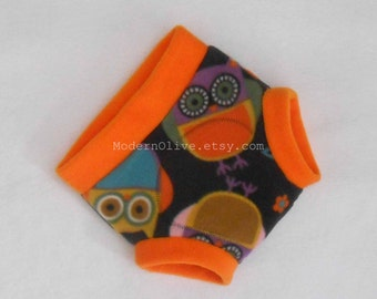 Large Anti-Pill Owl Fleece Diaper or Underpants Cover Cloth Pullup/Soaker, Orange Grey Gray Aqua Blue Purple, Multi Colored, Vegan Toddler