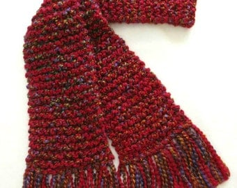 Red Scarf, Long Chunky Knit Winter Scarf, Knitted Scarf for Men or Women, Multicolor Red Scarf, Multicolored Scarf