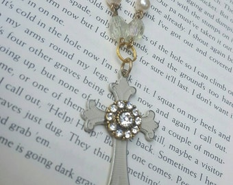 Shabby Chic OOAK Style Vintage Pearl and Rhinestone Assemblage Cross Necklace Repurposed Jewelry