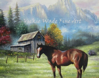 Mountain Horse Original Oil Painting 18X24, horse, barn, landscape, mountains, pasture, farm land, beautiful wall art, Vickie Wade Art