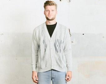 Vintage 90s Mens CARDIGAN . Geometric Ikat Aztec Abstract Art Print Patterned Grey Grandad Oversized Sweater Boyfriend Gift 1990s . sz Large