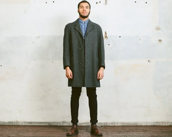 Vintage Wool WINTER COAT . Grey 1980s Topcoat Overcoat Chesterfield Coat Dandy Mod 80s Winter Jacket Longcoat . Large XL