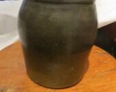 Antique  dark black brown stoneware crock jar