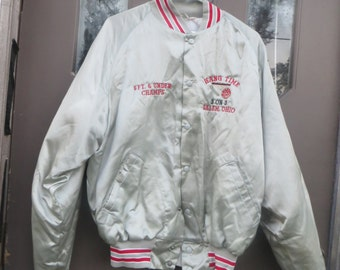 vintage 70s  OLD school    DON ALLESON grey satin basketball jacket   Hang time  6ft and under Champs Large