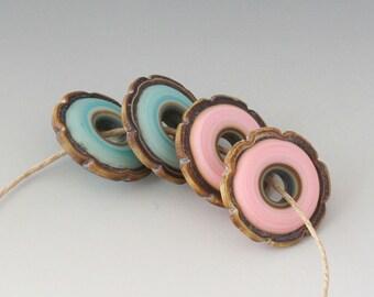 Rustic Ruffled Discs - (4) Handmade Lampwork Beads - Mint, Pink