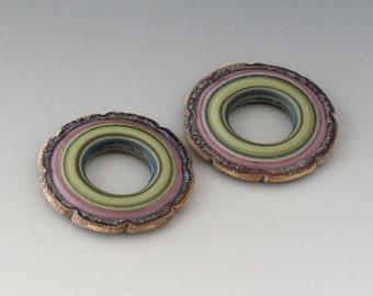 Rustic Ruffle Discs - (2) Handmade Lampwork Beads - Lavender, Green