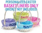 Easter Basket Liner Personalized ( Easter Baskets NOT INCLUDED ) Gingham Easter Basket Liner Blue Lime Green Purple Hot Pink For Kids